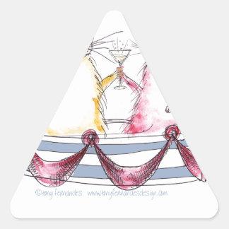 cat love - funny cartoon, tony fernandes triangle stickers