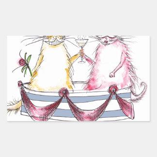 cat love - funny cartoon, tony fernandes rectangular sticker