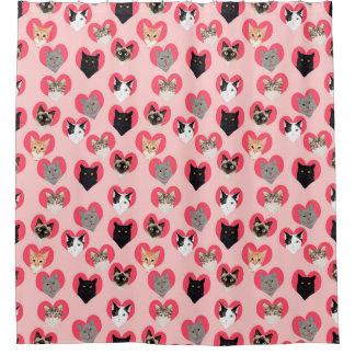 Cat Love Hearts shower curtain - cute cats