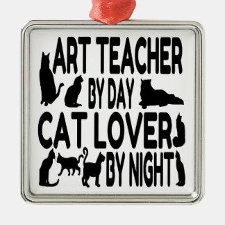 Cat Lover Art Teacher Christmas Ornament