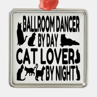 Cat Lover Ballroom Dancer Silver-Colored Square Decoration