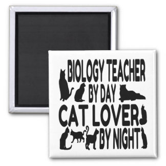 Cat Lover Biology Teacher Square Magnet
