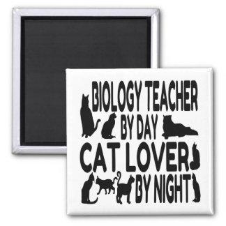 Cat Lover Biology Teacher Square Magnet