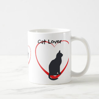 Cat lover, black cats in open red hearts basic white mug