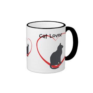 Cat lover, black cats in open red hearts ringer mug