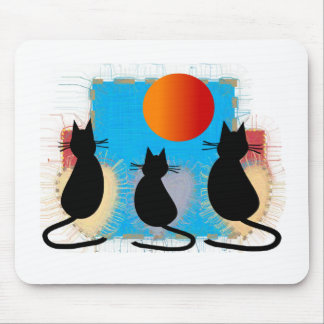 Cat Lover Black Cats in the Window Mouse Mat