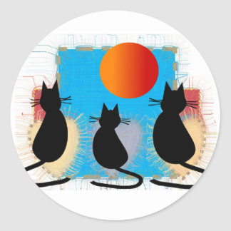 Cat Lover Black Cats in the Window Round Sticker