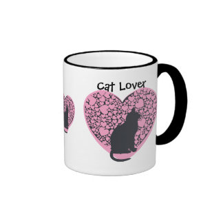 Cat lover, black cats, pink hearts ringer coffee mug