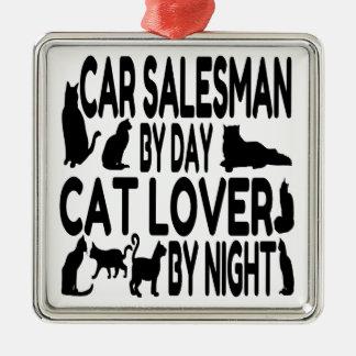 Cat Lover Car Salesman Silver-Colored Square Decoration