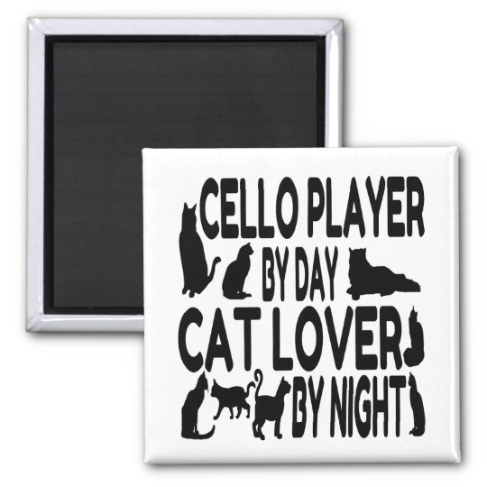 Cat Lover Cello Player Square Magnet