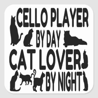 Cat Lover Cello Player Square Sticker