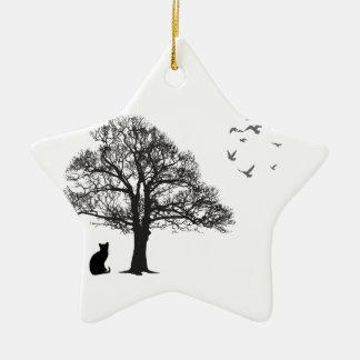 Cat lover ceramic star decoration