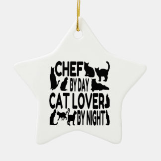 Cat Lover Chef Ceramic Star Decoration