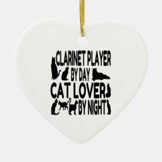 Cat Lover Clarinet Player Ceramic Heart Decoration