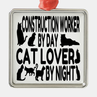 Cat Lover Construction Worker Christmas Ornament