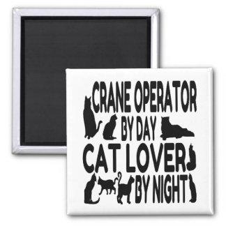 Cat Lover Crane Operator Square Magnet
