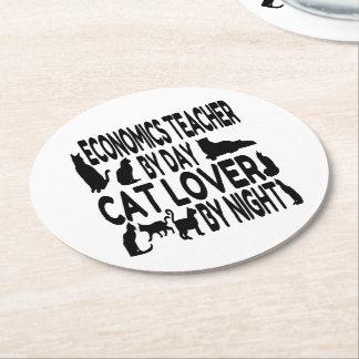 Cat Lover Economics Teacher Round Paper Coaster