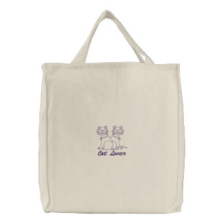 Cat Lover Embroidered Tote Bag