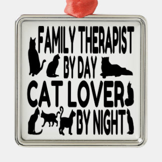 Cat Lover Family Therapist Silver-Colored Square Decoration