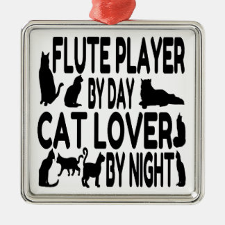 Cat Lover Flute Player Silver-Colored Square Decoration