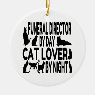Cat Lover Funeral Director Round Ceramic Decoration