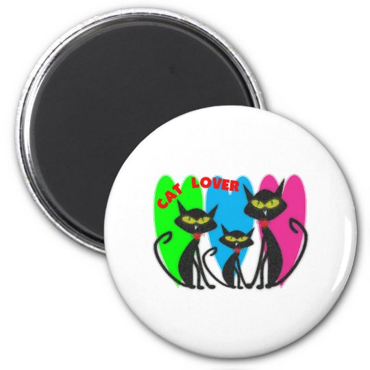 Cat Lover Gifts---Unique Cats--Bright Colours 6 Cm Round Magnet