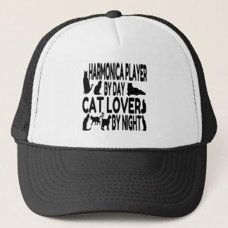 Cat Lover Harmonica Player Trucker Hat