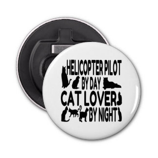Cat Lover Helicopter Pilot Bottle Opener