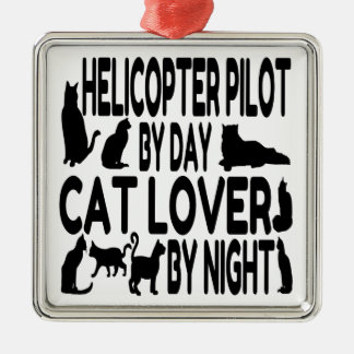 Cat Lover Helicopter Pilot Christmas Ornament