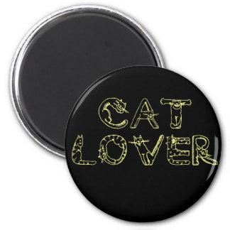 Cat Lover in Cat Font 6 Cm Round Magnet