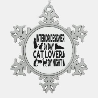 Cat Lover Interior Designer Snowflake Pewter Christmas Ornament