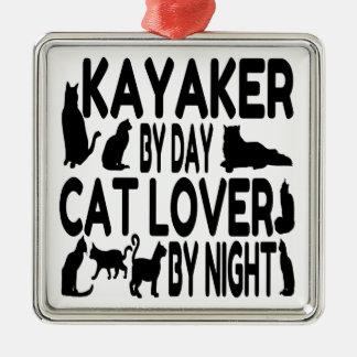 Cat Lover Kayaker Christmas Ornament