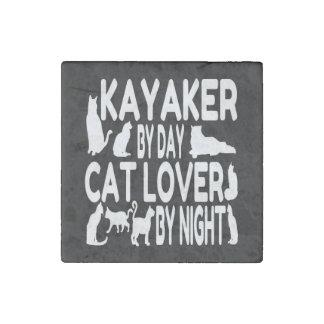 Cat Lover Kayaker Stone Magnet