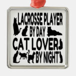 Cat Lover Lacrosse Player Christmas Tree Ornament