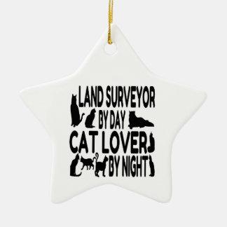 Cat Lover Land Surveyor Christmas Ornament