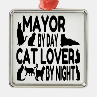 Cat Lover Mayor Silver-Colored Square Decoration