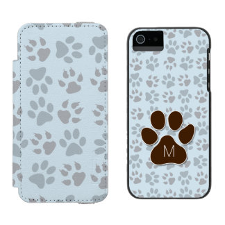 Cat Lover Monogrammed Initial and Paw Prints Incipio Watson™ iPhone 5 Wallet Case