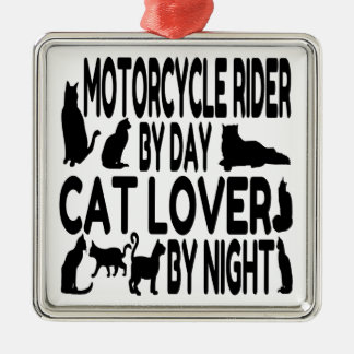 Cat Lover Motorcycle Rider Christmas Ornament