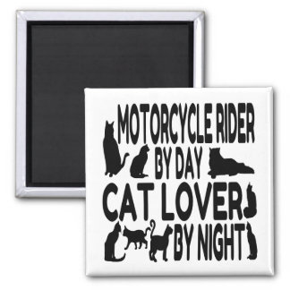 Cat Lover Motorcycle Rider Square Magnet