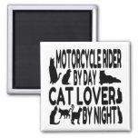 Cat Lover Motorcycle Rider Refrigerator Magnets