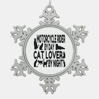 Cat Lover Motorcycle Rider Snowflake Pewter Christmas Ornament