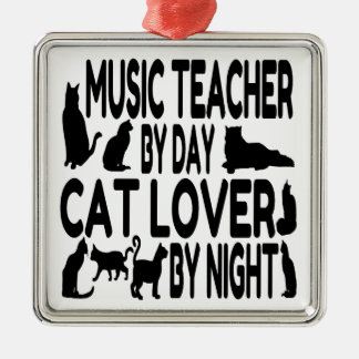 Cat Lover Music Teacher Christmas Ornament