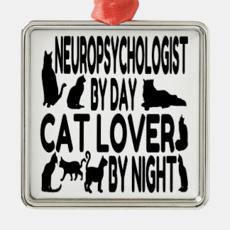 Cat Lover Neuropsychologist Silver-Colored Square Decoration