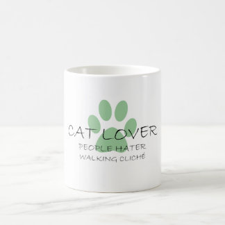 Cat Lover People Hater Walking Cliche Basic White Mug