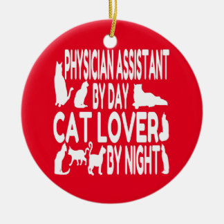 Cat Lover Physician Assistant Round Ceramic Decoration
