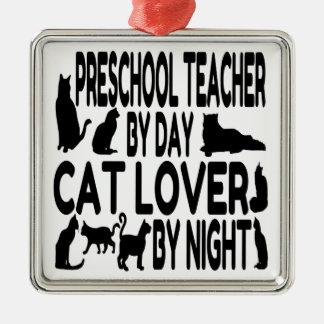 Cat Lover Preschool Teacher Christmas Ornament