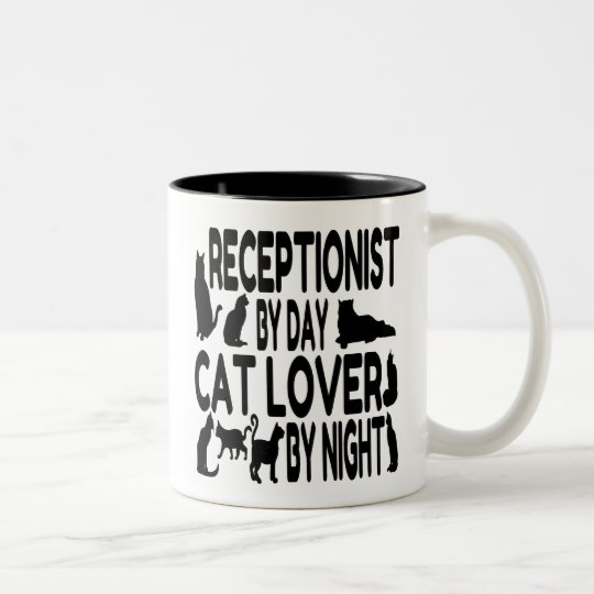 Cat Lover Receptionist Two-Tone Coffee Mug