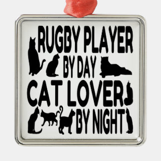 Cat Lover Rugby Player Christmas Ornament