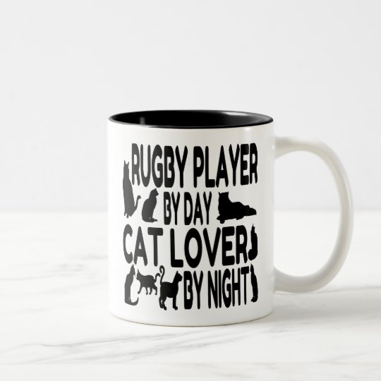 Cat Lover Rugby Player Two-Tone Coffee Mug