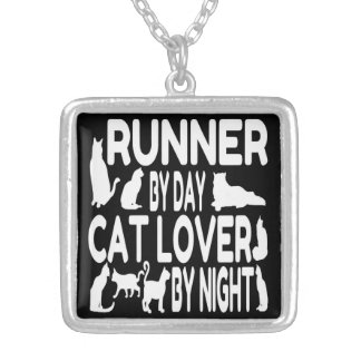 Cat Lover Runner Silver Plated Necklace